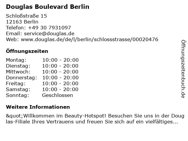 Parfümerie Douglas Berlin Hermsdorf in Berlin: Adresse und Öffnungszeiten