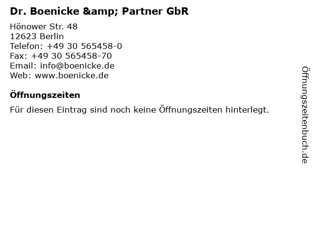 Dr. Boenicke & Partner GbR in Berlin: Adresse und Öffnungszeiten