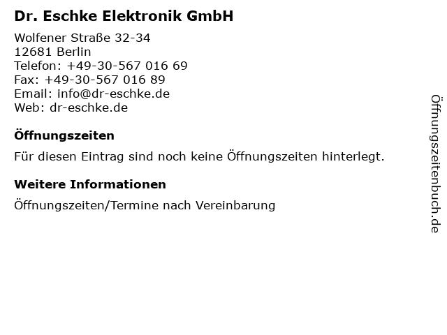 Dr. Eschke Elektronik GmbH in Berlin: Adresse und Öffnungszeiten