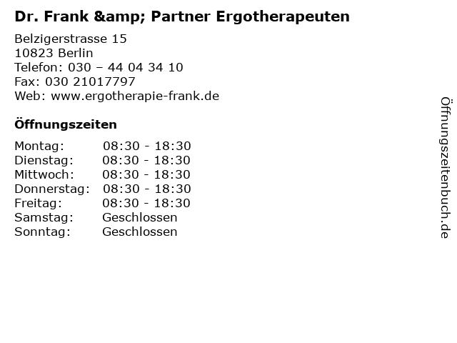 Dr. Frank & Partner Ergotherapeuten in Berlin: Adresse und Öffnungszeiten