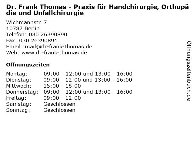 Dr. Frank Thomas in Berlin: Adresse und Öffnungszeiten