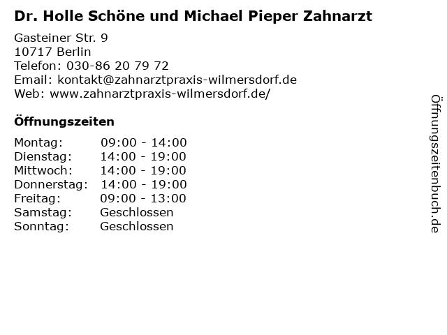 Dr. Holle Schöne und Michael Pieper Zahnarzt in Berlin: Adresse und Öffnungszeiten