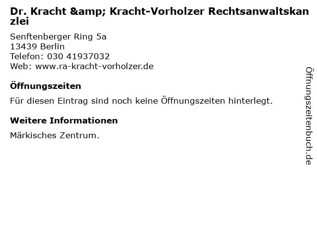 Dr. Kracht & Kracht-Vorholzer Rechtsanwaltskanzlei in Berlin: Adresse und Öffnungszeiten