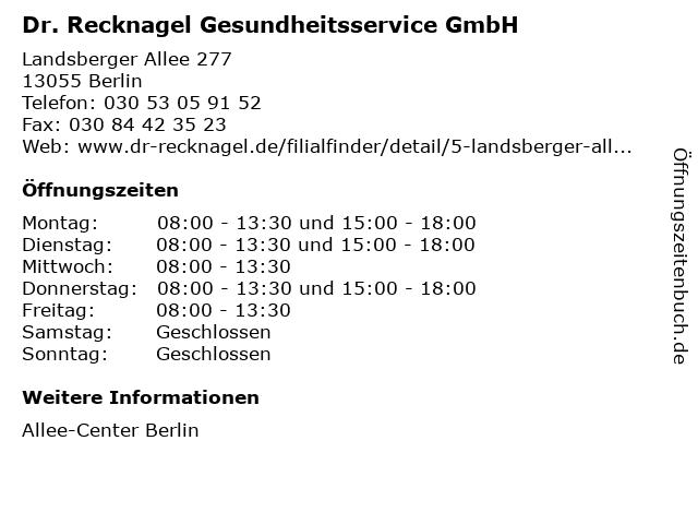 Dr. Recknagel Gesundheitsservice GmbH in Berlin: Adresse und Öffnungszeiten
