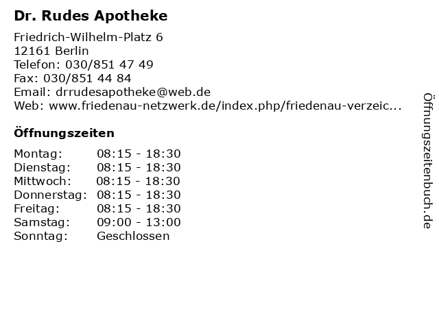 Dr. Rudes Apotheke in Berlin: Adresse und Öffnungszeiten