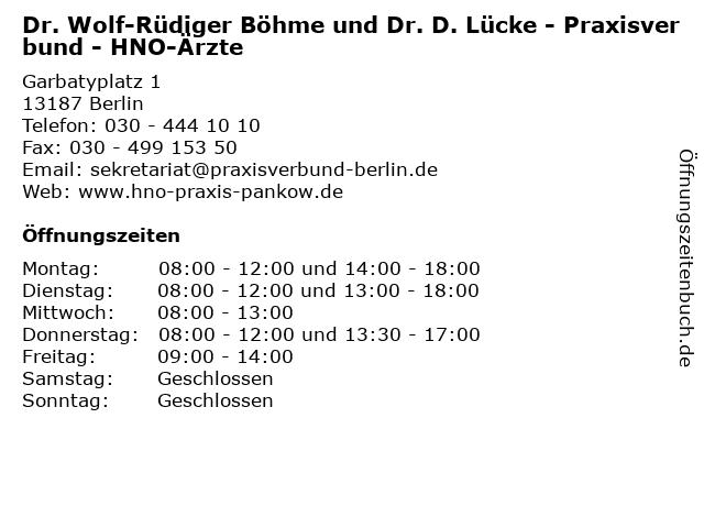 Dr. Wolf-Rüdiger Böhme und Dr. D. Lücke - Praxisverbund - HNO-Ärzte in Berlin: Adresse und Öffnungszeiten