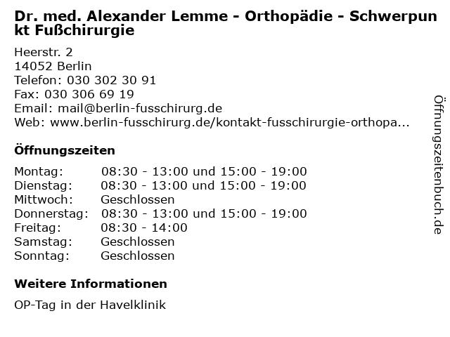 Dr. med. Alexander Lemme - Orthopädie - Schwerpunkt Fußchirurgie in Berlin: Adresse und Öffnungszeiten