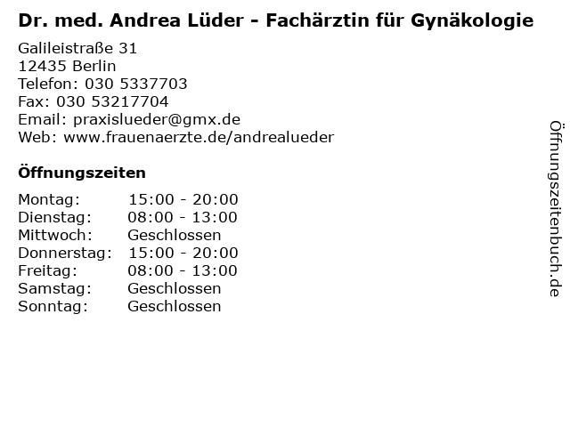 Dr. med. Andrea Lüder - Fachärztin für Gynäkologie in Berlin: Adresse und Öffnungszeiten