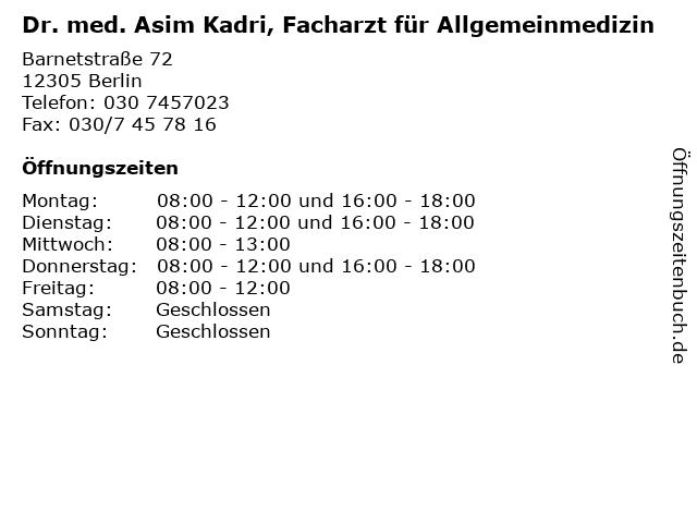Dr. med. Asim Kadri, Facharzt für Allgemeinmedizin in Berlin: Adresse und Öffnungszeiten