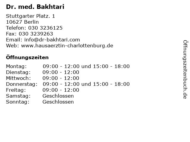 Dr. med. Bakhtari in Berlin: Adresse und Öffnungszeiten
