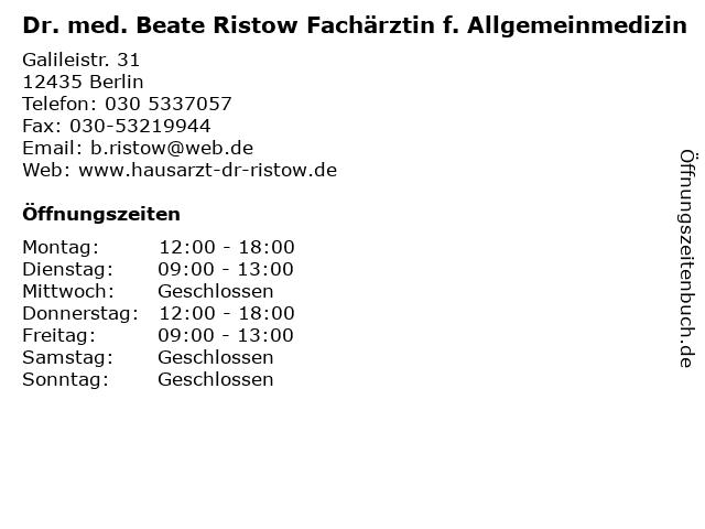 Dr. med. Beate Ristow Fachärztin f. Allgemeinmedizin in Berlin: Adresse und Öffnungszeiten