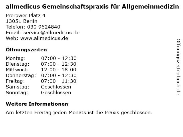 Dr. med. Bernhard Malinowski in Berlin: Adresse und Öffnungszeiten