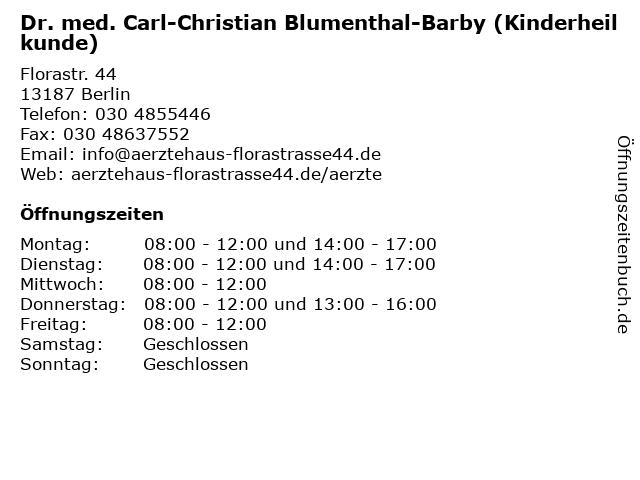 Dr. med. Carl-Christian Blumenthal-Barby (Kinderheilkunde) in Berlin: Adresse und Öffnungszeiten
