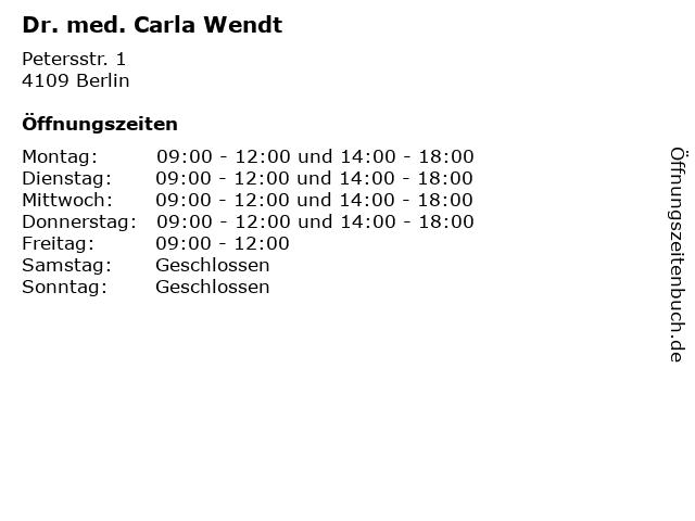 Dr. med. Carla Wendt in Berlin: Adresse und Öffnungszeiten