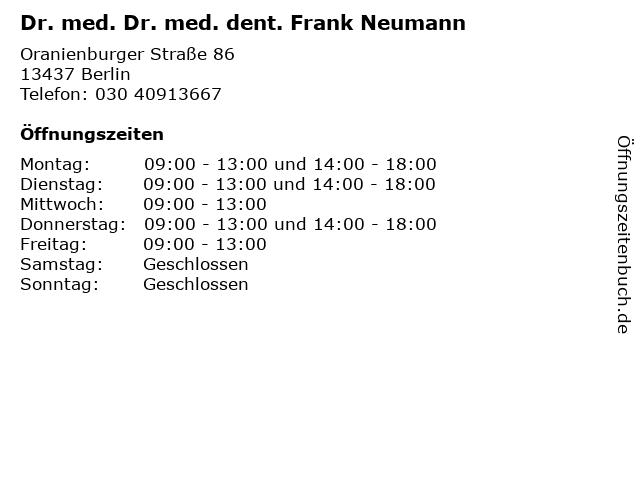 Dr. med. Dr. med. dent. Frank Neumann in Berlin: Adresse und Öffnungszeiten