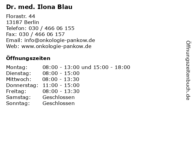 Dr. med. Ilona Blau in Berlin: Adresse und Öffnungszeiten