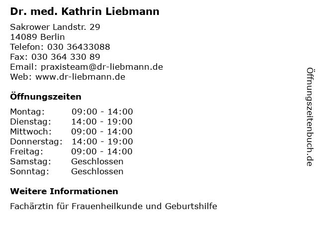Dr. med. Kathrin Liebmann in Berlin: Adresse und Öffnungszeiten