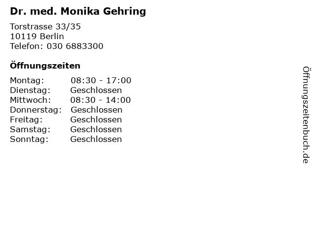 Dr. med. Monika Gehring in Berlin: Adresse und Öffnungszeiten