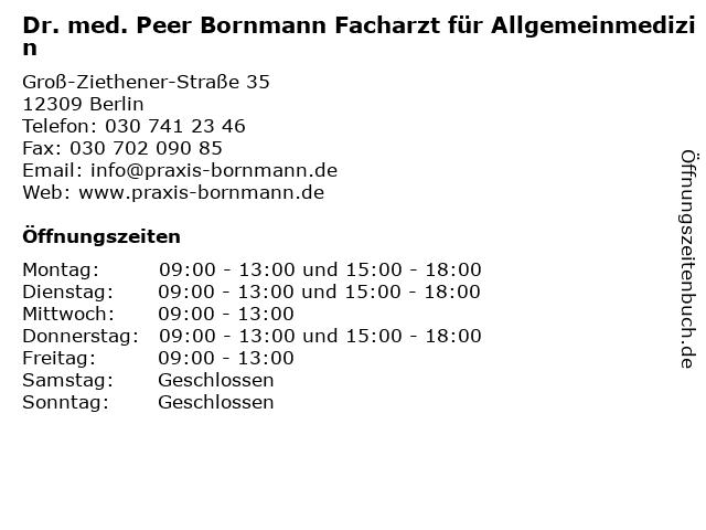 Dr. med. Peer Bornmann Facharzt für Allgemeinmedizin in Berlin: Adresse und Öffnungszeiten