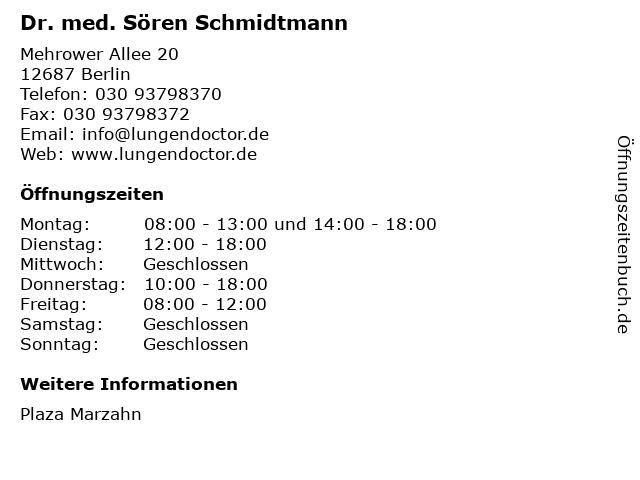 Dr. med. Sören Schmidtmann in Berlin: Adresse und Öffnungszeiten