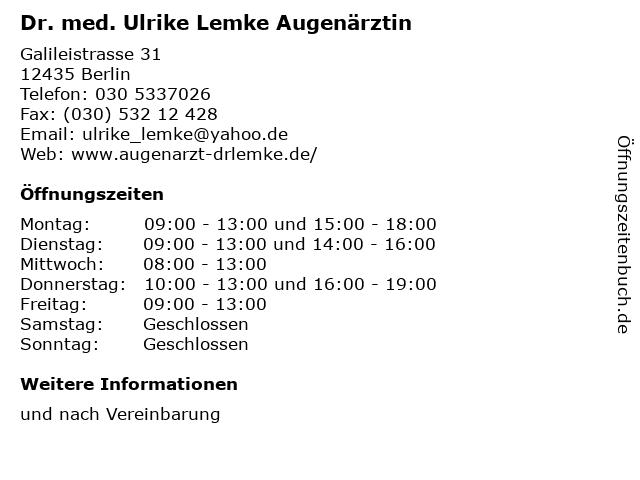 Dr. med. Ulrike Lemke Augenärztin in Berlin: Adresse und Öffnungszeiten