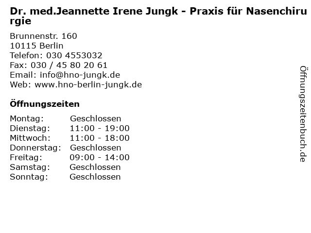 Dr. med.Jeannette Irene Jungk - Praxis für Nasenchirurgie in Berlin: Adresse und Öffnungszeiten