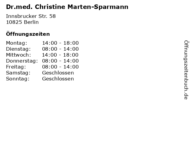 Dr.med. Christine Marten-Sparmann in Berlin: Adresse und Öffnungszeiten