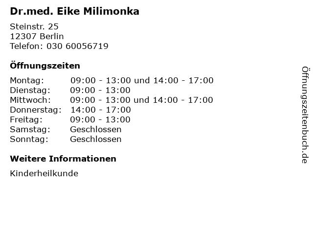 Dr.med. Eike Milimonka in Berlin: Adresse und Öffnungszeiten