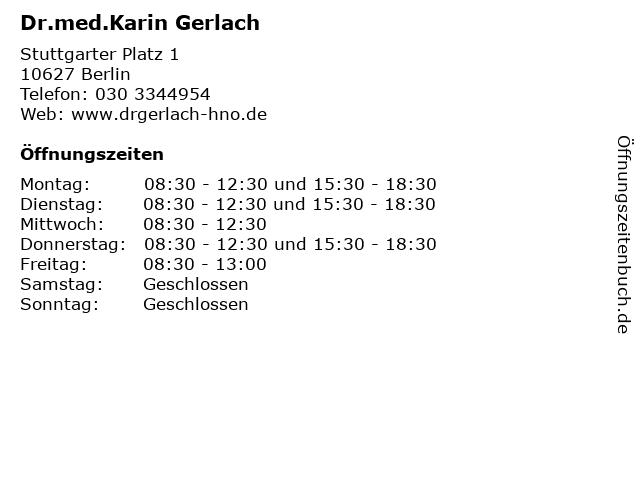 Dr.med.Karin Gerlach in Berlin: Adresse und Öffnungszeiten