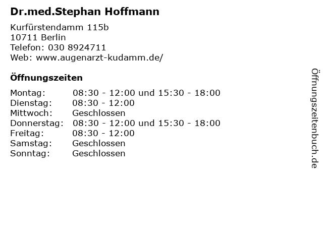 Dr.med.Stephan Hoffmann in Berlin: Adresse und Öffnungszeiten