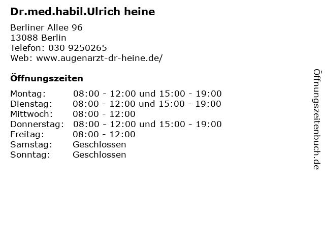 Dr.med.habil.Ulrich heine in Berlin: Adresse und Öffnungszeiten