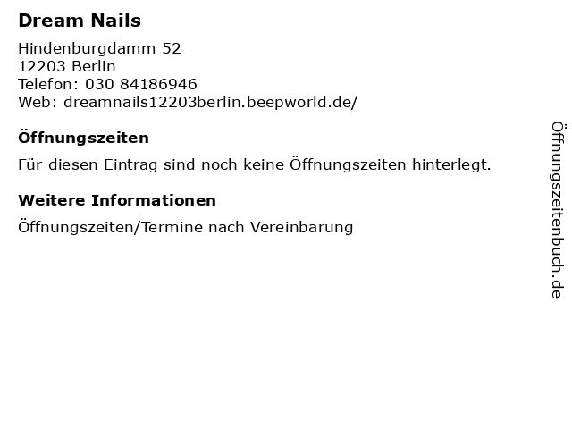 Dream Nails in Berlin: Adresse und Öffnungszeiten