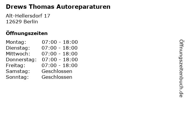 Drews Thomas Autoreparaturen in Berlin: Adresse und Öffnungszeiten