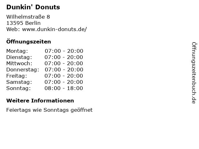 Dunkin' Donuts in Berlin: Adresse und Öffnungszeiten