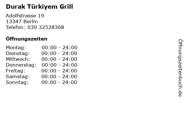 Durak Türkiyem Grill in Berlin: Adresse und Öffnungszeiten