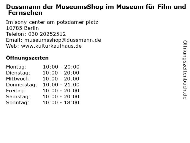 Dussmann der MuseumsShop im Museum für Film und Fernsehen in Berlin: Adresse und Öffnungszeiten