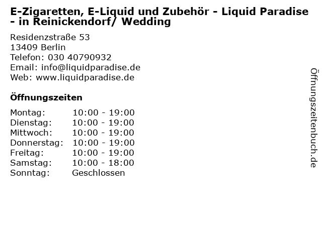 E-Zigaretten, E-Liquid und Zubehör - Liquid Paradise - in Reinickendorf/ Wedding in Berlin: Adresse und Öffnungszeiten