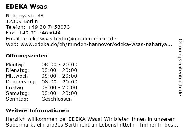 EDEKA Wsas in Berlin: Adresse und Öffnungszeiten