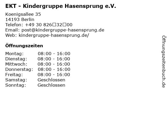 EKT - Kindergruppe Hasensprung e.V. in Berlin: Adresse und Öffnungszeiten