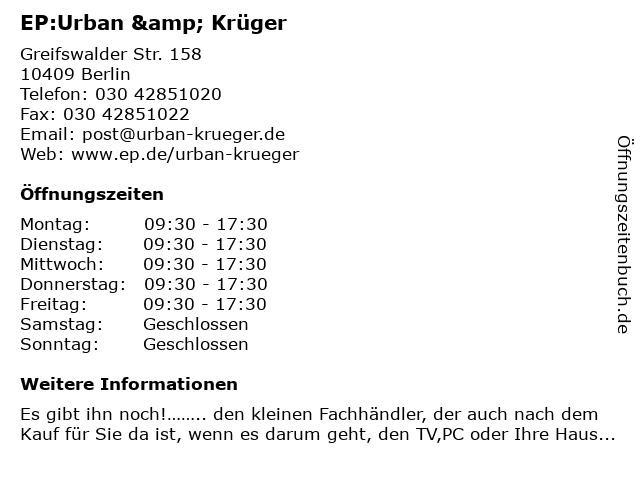 EP:Urban & Krüger in Berlin: Adresse und Öffnungszeiten