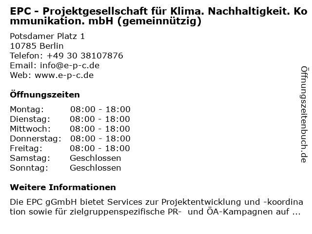 EPC - Projektgesellschaft für Klima. Nachhaltigkeit. Kommunikation. mbH (gemeinnützig) in Berlin: Adresse und Öffnungszeiten