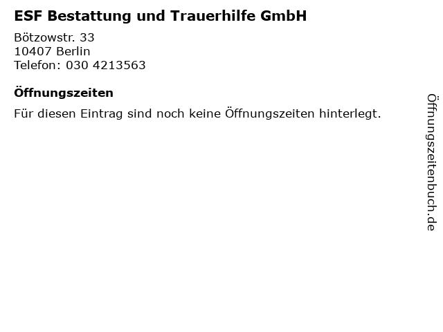 ESF Bestattung und Trauerhilfe GmbH in Berlin: Adresse und Öffnungszeiten