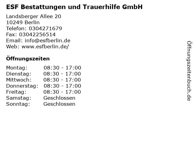 ESF Bestattungen und Trauerhilfe GmbH in Berlin: Adresse und Öffnungszeiten