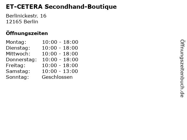 ET-CETERA Secondhand-Boutique in Berlin: Adresse und Öffnungszeiten