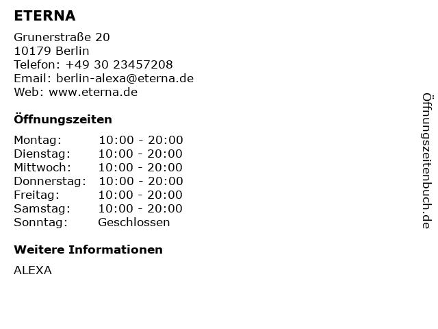 ETERNA Alexa in Berlin: Adresse und Öffnungszeiten