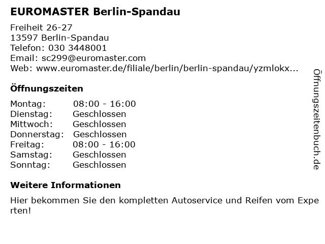 EUROMASTER GmbH in Berlin: Adresse und Öffnungszeiten