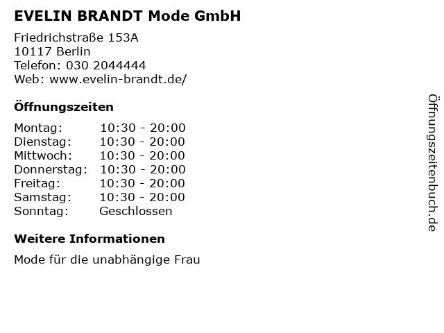 EVELIN BRANDT Mode GmbH in Berlin: Adresse und Öffnungszeiten
