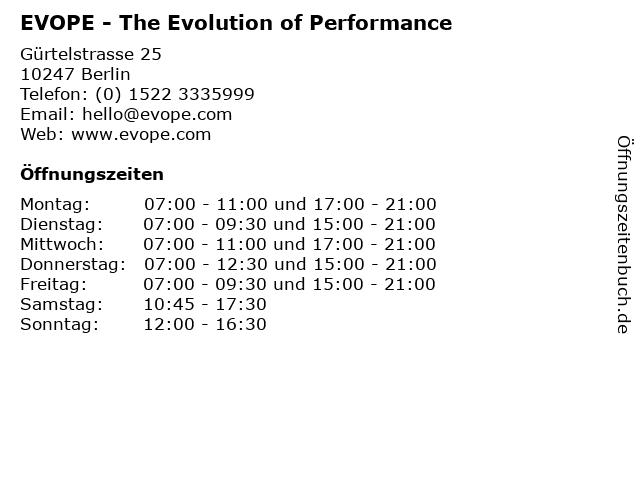 EVOPE - The Evolution of Performance in Berlin: Adresse und Öffnungszeiten