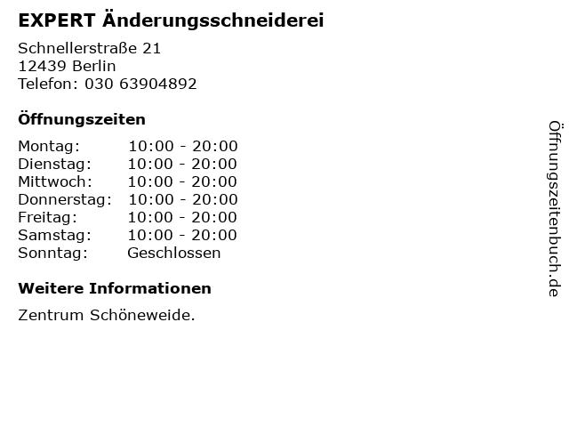 EXPERT Änderungsschneiderei in Berlin: Adresse und Öffnungszeiten