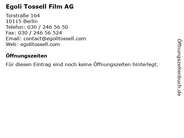 Egoli Tossell Film AG in Berlin: Adresse und Öffnungszeiten